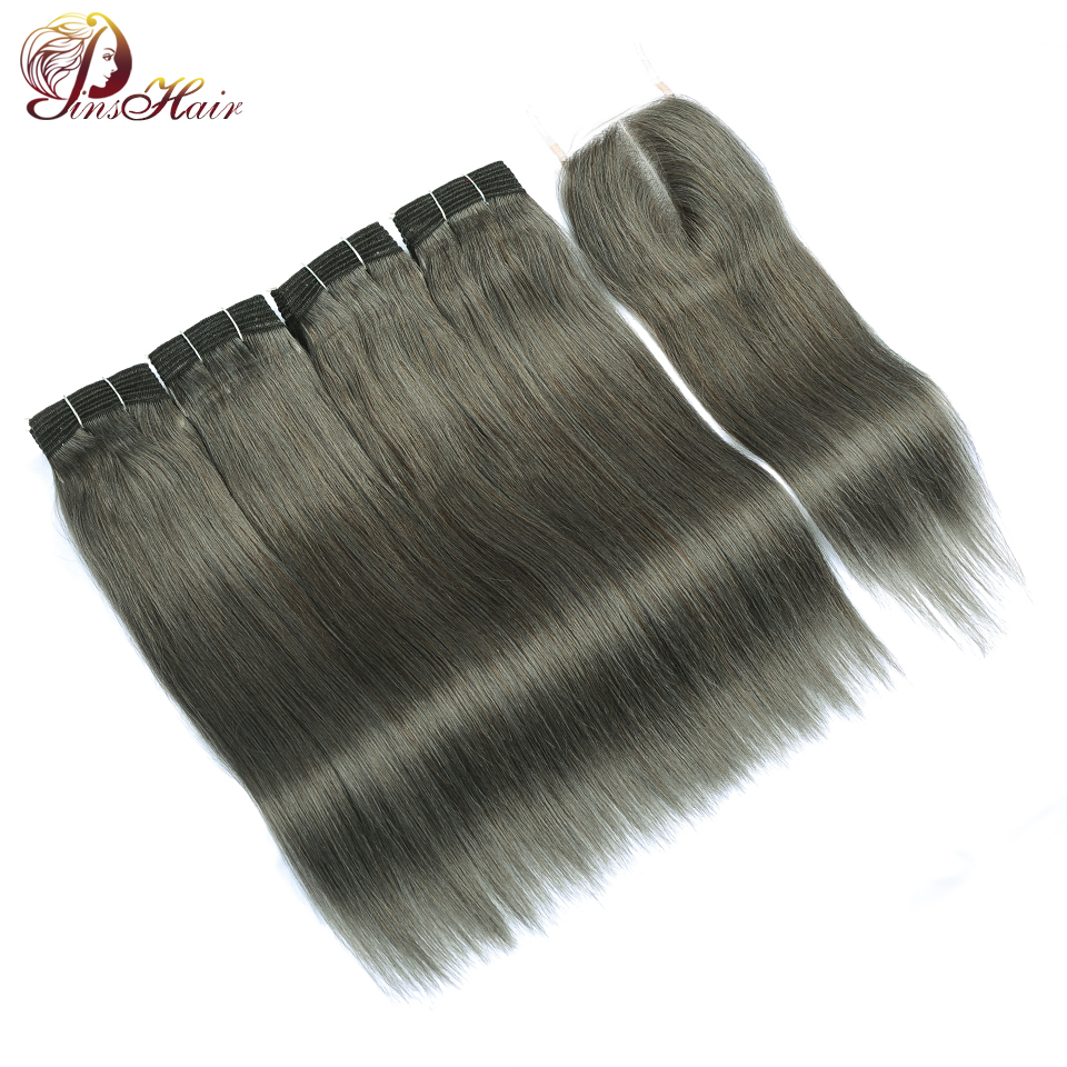 Pinshair Brown Brazilian Straight Human Hair 4 Bundles With Closure Gray Hair Weave Thick Bundle With Closure Lilen Grey Nonremy