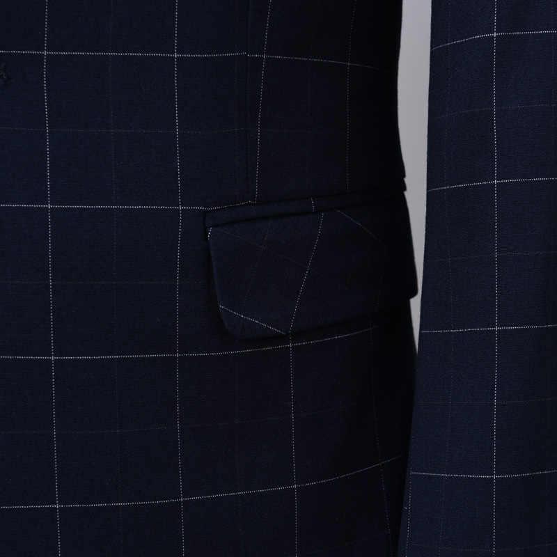 2018青格子男性スーツブランド男性スーツ結婚式スリムフィットビジネスカジュアルパーティー新郎格子縞の男性スーツドレスジャケット+パンツ+ベスト