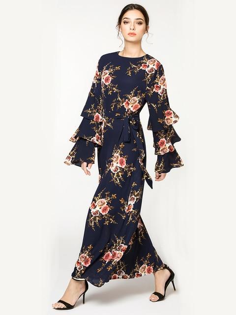 Women Marokko Kaftan Plus Size 7XL Printed Muslim Flower Dress Arabic Muslim Abaya Dress