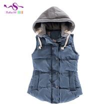 5XL Korean Winter Women thick vest 2016 new fashion Slim down cotton vest Increase Hooded Vest waistcoat plus size YT139
