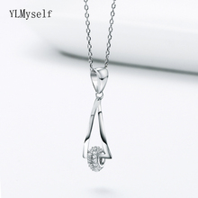 Elegant Sterling Silver Cute Pendant Necklace Fast delivery Jewelry Tiny crystal CZ Women 925 silver Geometric design Suspension