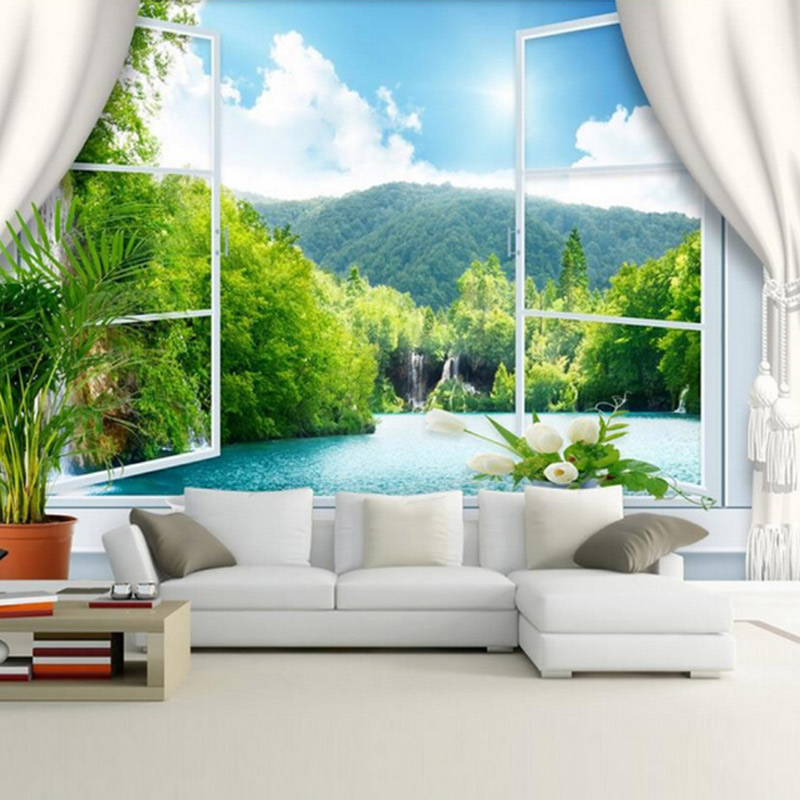 3d living wall mural murals backdrop custom measure tv mountain sofa chinese landscape window papers wallpapers stereoscopic desktop background river