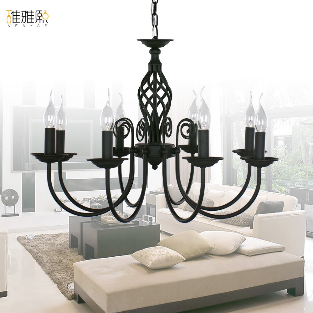 fairy lights led lights for home Fabric lampshade chandelier iron modern chandeliers indoor lighting fixture black chandelier