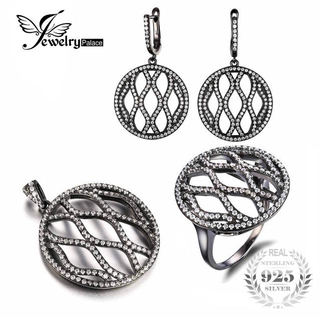Jewelrypalace negro plateó sistemas de la joyería auténtica plata de ley 925 joyas de plata para las mujeres pendiente colgante anillo de la joyería de la vendimia