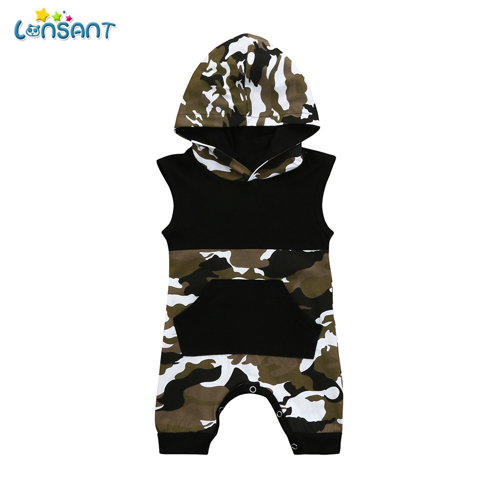 LONSANT Hot Selling Summer Toddler Newborn Baby Sleeveless Black Camouflage Hoodie Pocket Boys Jumpsuit Romper OutfitsLONSANT Hot Selling Summer Toddler Newborn Baby Sleeveless Black Camouflage Hoodie Pocket Boys Jumpsuit Romper Outfits