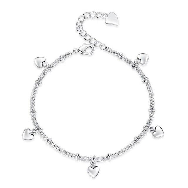 Anenjery 925 סטרלינג כסף צמידי נשים מזל אהבת לב כסף שרשרת צמיד pulseira מתנת חתונה תכשיטי S-B164