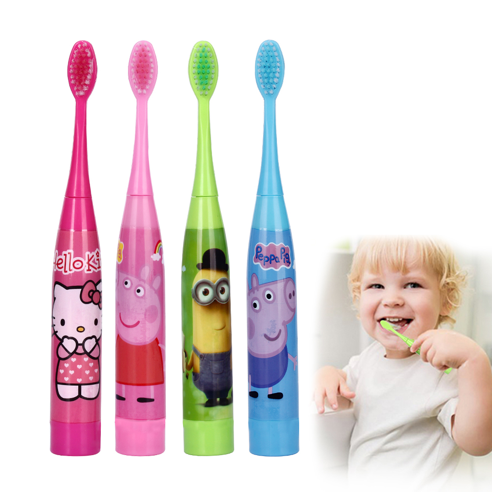 Ultrasonic Children Cartoon Electric Toothbrush With 2 Heads Kids Soft Bristle Teeth Brush Tooth Brush Oral Hygiene Wholesale ckeyin cartoon dolphin children music electric toothbrush led tooth brush 22000 min kids sonic toothbrush electric 3 brush heads