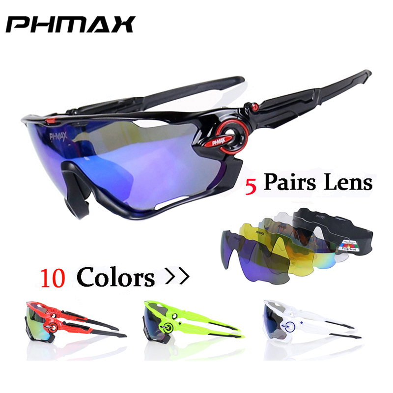 PHMAX 5 Lens Polarized Mountain Bicycle Glasses TR90 Sport Cycling Sunglasses Racing Bike Goggles Eyewear Gafas de Ciclismo