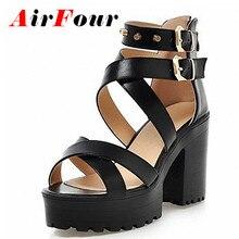 Airfour Big Size 34-43 Women Gladiator Sandals Square High Heels Rivets Summer Shoes Open Toe Thick Platform Sandals Women Shoes