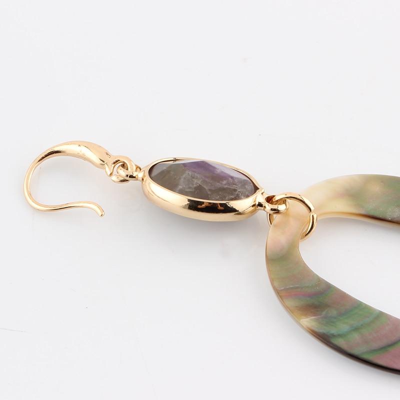 Sehuoran baumeln Ohrringe für Frau aus Naturstein und Ocean Shell - Modeschmuck - Foto 4