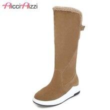 Купить с кэшбэком AicciAizzi 4 Color Women Mid Calf Boots New Fashion Buckle Warm Plush Shoes Women Winter Fur Inside Heels Snow Boots Size 34-43
