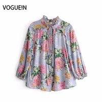 VOGUEIN New Womens Summer Beach Floral Print 3 4 Sleeve Blouse Tops Shirt Wholesale