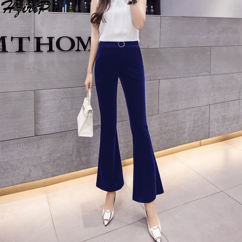 Hzirip Korean 2019 Spring Winter Straight Trousers Women Fashion Loose Casual Elastic High Waist   Wide     Leg     Pants   Plus Size S-XXL
