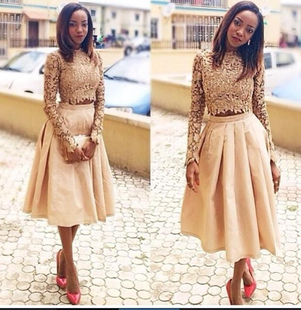 High Top Champagne Prom Dress