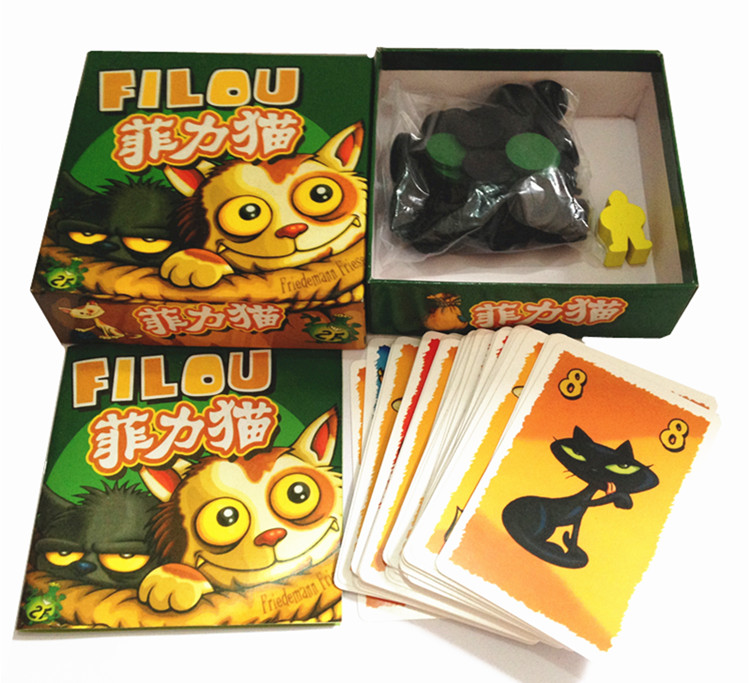 Free shipping portable Felix The Cat in the Sack cat & dog card games filou strategy games easy simple play board game
