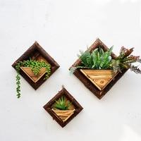 3pcs L+M+S flowerpot Succulent planter retro wooden hanging flower pot flower wall hanging pendant creative wall decoration