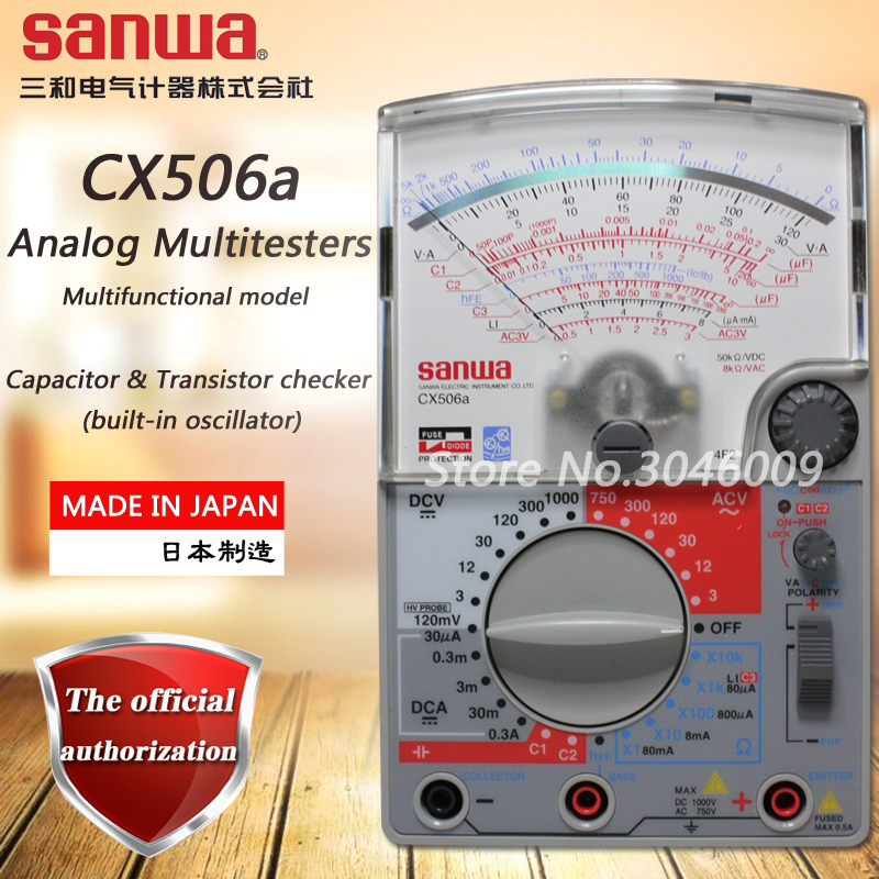 sanwa CX506a analog multimeter, pointer multi-function / multi-range multimeter capacitor and transistor check function