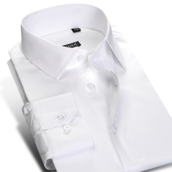 Men's Slim Fit Spread Collar White Dress Shirt Solid Long Sleeve Non-Iron Premium 100% Cotton Formal Business Work Office Shirts