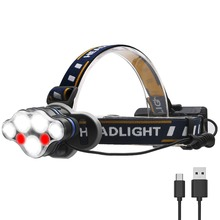 PANYUE Headlamp 5500 Lumen Headlight 3*T6+2*XPE+2*COB USB Rechargeable Head Flashlight Torch use 2* 18650 Rechargeable Battery