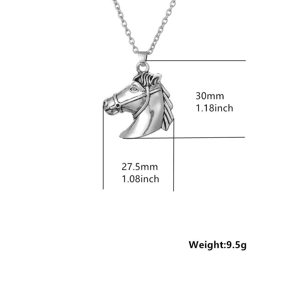 بلدي شكل الحصان رئيس ركوب بسيط شعبي حار Vintage العتيقة الفضة اللون الفضة الحصان رئيس سلسلة بدلاية قلادة النساء