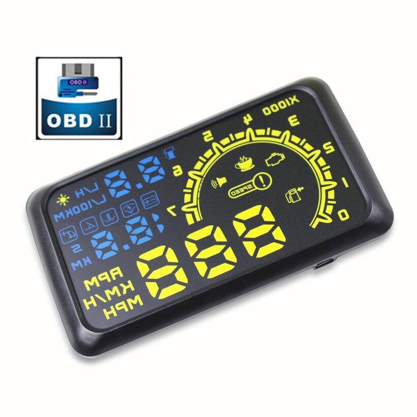 imágenes para 4C Auto Car hud HUD 5.5 Pantalla Auto OBDII OBD2 puerto de Head-Up Display KM/h MPH Parabrisas Proyector Alarma de Exceso de Velocidad Advertencia sistema
