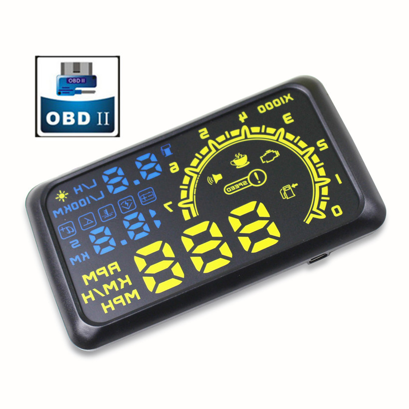 Prix pour 4C Auto HUD 5.5 Écran Auto OBDII Voiture hud OBD2 Port Tête-Up Display KM/h MPH Survitesse Avertissement Pare-Brise Projecteur D'alarme système