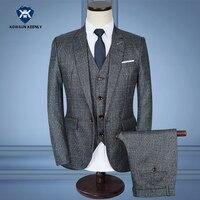 3 Sztuka Szary Plaid Garnitur Mężczyźni Slim Fit Suknia Ślubna Garnitury dla Mężczyzn Elegancki Formalne Nosić Plus Size 5XL Luksusowe Smokingi Groom garnitur