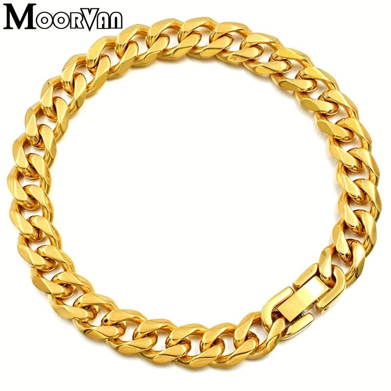 Moorvan Jewelry Men Bracelet Cuban links & chains Stainless Steel Bracelet for Bangle Male Accessory Wholesale B284 8