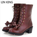 LIN KING Japan Style Sweet Bowtie Women Lolita Boots Fashion Square Heel Martin Boots Autumn Lace Up Mid Calf Botas Femininas