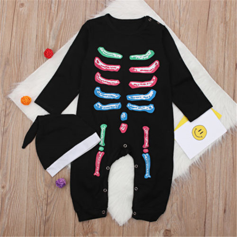 2PCS Infant Toddlers Baby Girls Boys Cotton Long sleeve Fashion Halloween Hat Romper Newborn Home Infant