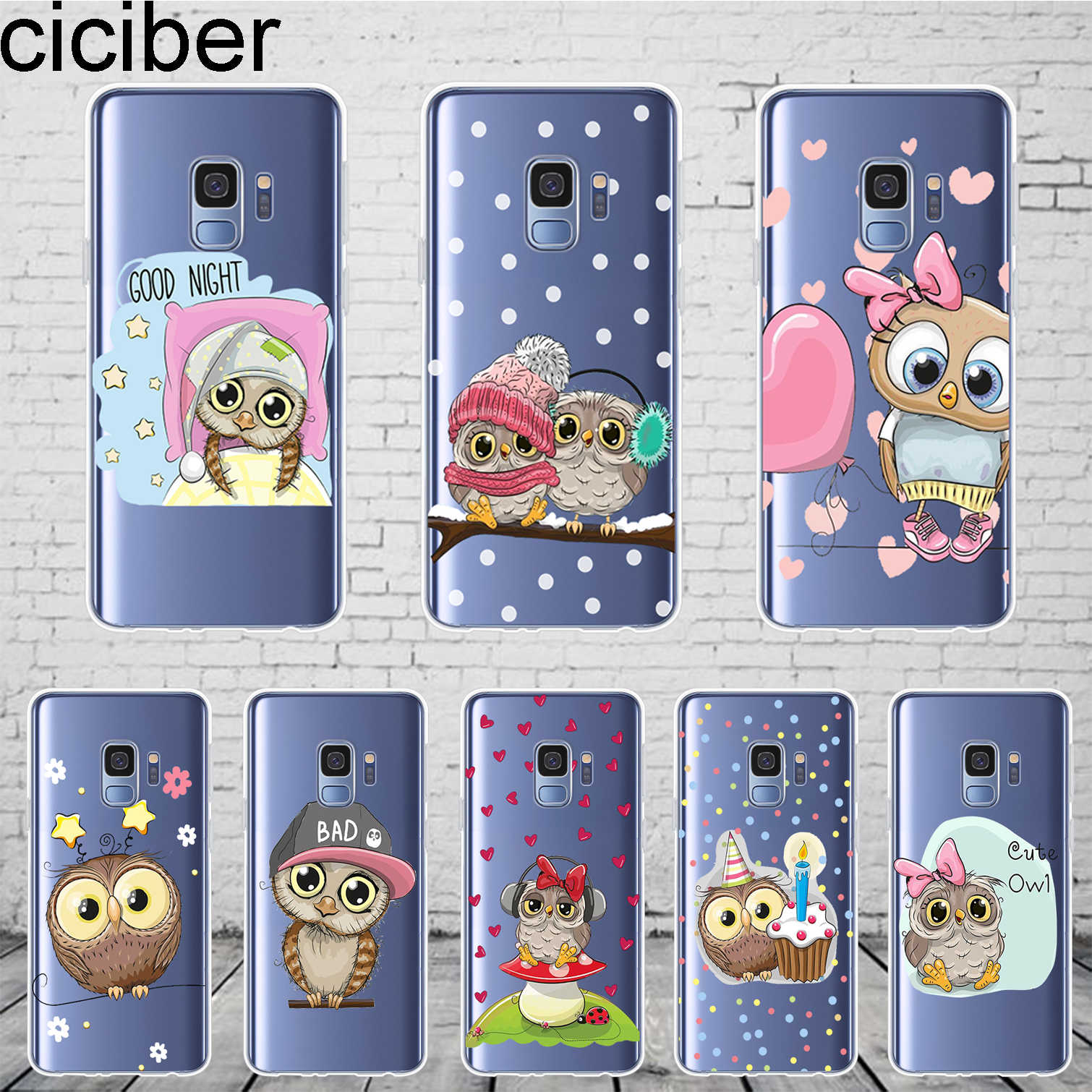 ciciber Cute Animal Owl Coque For Samsung Galaxy S 6 7 8 9 Edge Plus Phone Case For Galaxy Note 3 4 5 8 9 10 Plus Cover Soft TPU