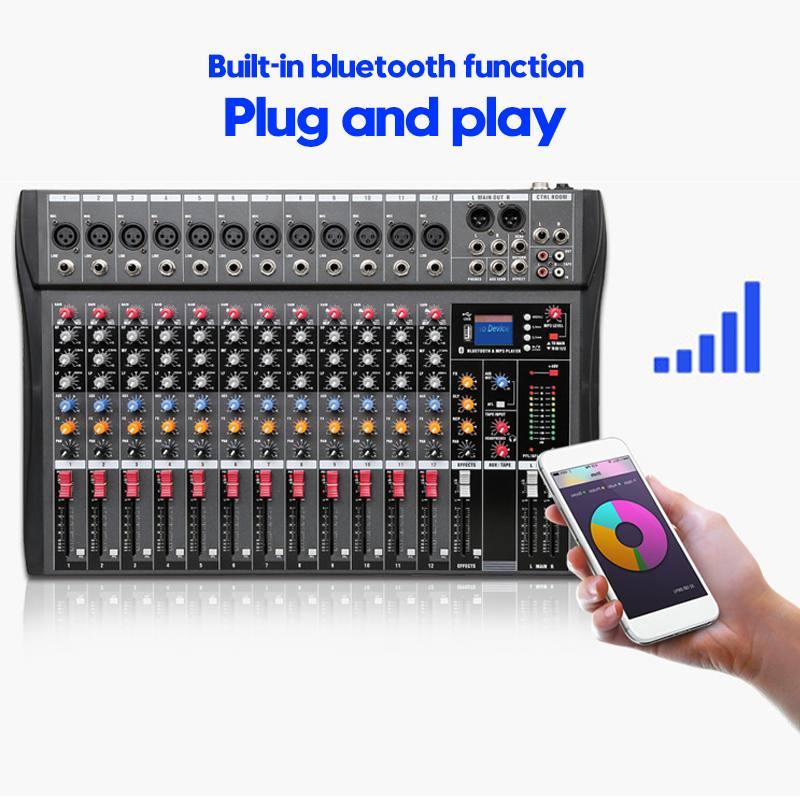 LEORY 12 canales bluetooth Digital micrófono mezclador de sonido consola profesional Karaoke Audio mezclador amplificador con USB - 2