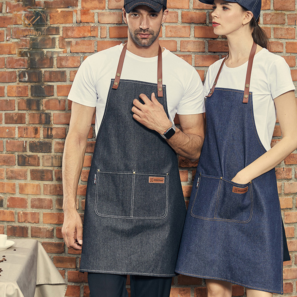 New Arrivl Fashion Cooking Apron Kitchen Apron For Woman Men Chef Waiter Cafe Shop BBQ Hairdresser Tools Denim Aprons Chef Apron