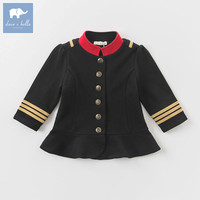 DB6074 Dave Bella Autumn Infant Baby Girls Fashion Coat Kids Toddler Black Coats Children Hight Quality