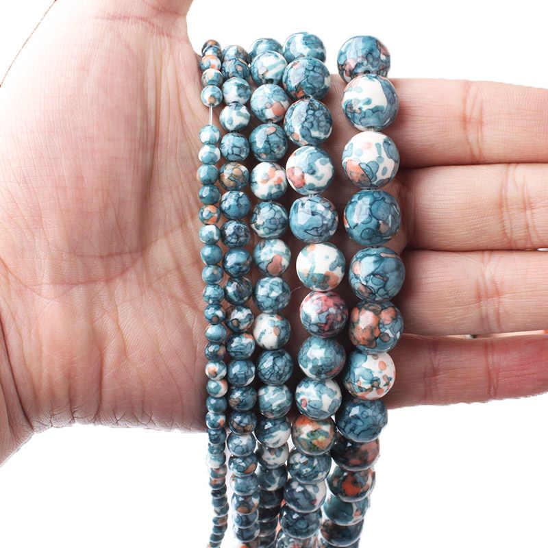 CAMDOE DANLEN Natürliche Dunkelblau Regenbogen Stones Runde Spacer Lose Korne Diy Halskette Armband Charme Handgefertigten Schmuck Machen