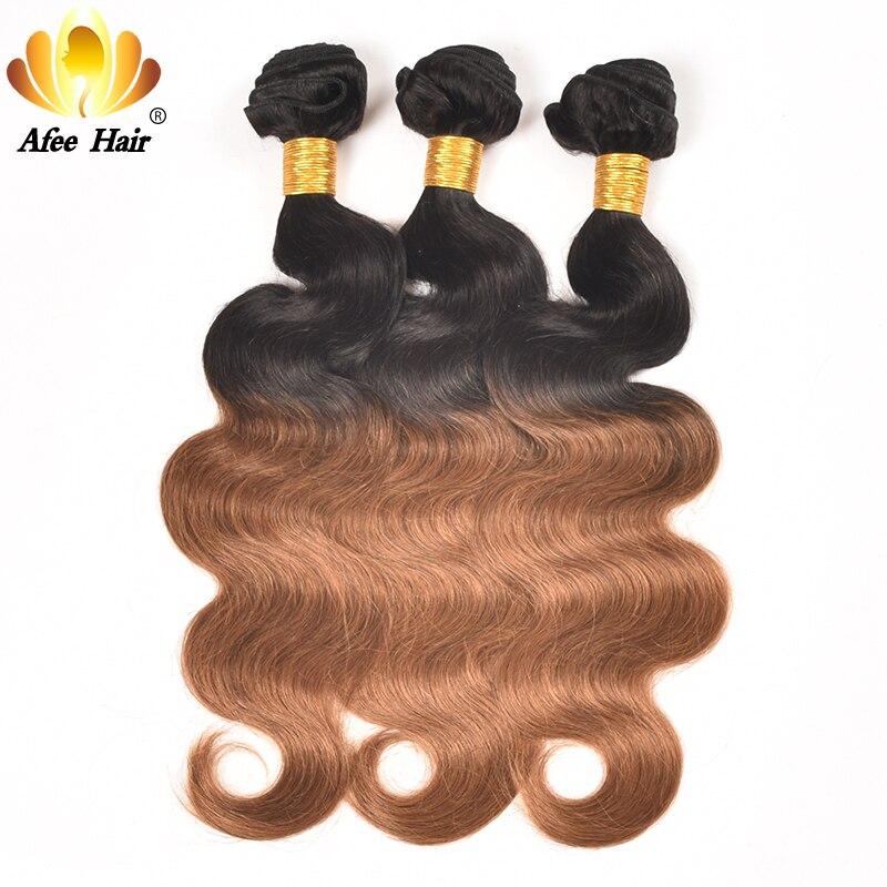 AliAfee Hårbrasilianska Body Wave Hair Weave Bundles 3 PC Deal Non - Mänskligt hår (svart) - Foto 3
