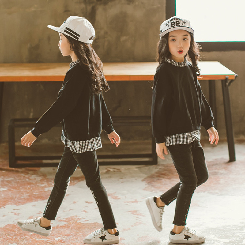 все цены на New 2Pcs Kids Girls Long Sleeve Sweatshirt Tops Jeans Girls Pants Set Outfits Children Causal Spring Autumn Clothing Sets Ca315