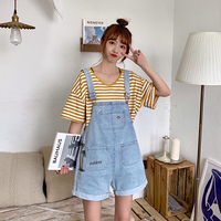 Summer Women Sweet Denim Playsuits Harajuku Cute Sunny Embroidery Strap Jeans Shorts Bib Overalls Casual Loose Wide Leg Jumpsuit