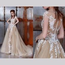 Champagne Lange Spitze Abendkleider für Hochzeit Frauen A linie T Abschlussball-formale Kleider Abendkleider robe de soiree longue