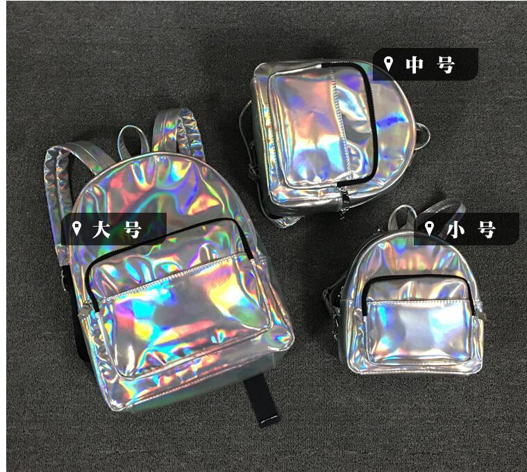 Maelove New women backpack female Laser Silver Bag Hologram Backpack Student s School Backpack shoulder bag