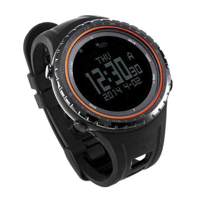 Sunroad homens watch-5atm fr801b esporte digital altímetro bússola cronômetro pesca barómetro relógio à prova d' água orange