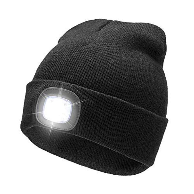 e055d9e1b Motorcycle 2 In1 Helmet Lighted LED Beanie Hat USB Rechargeable Battery  Outdoor Sports,Motorcycle Riding Warning Warmming Helmet