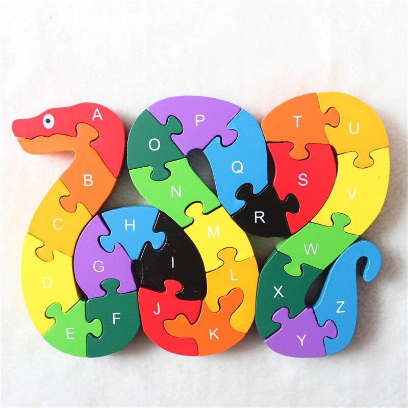 Новый развивающие игрушки для детей змея деревянные игрушки деревянные детские 3d Puzzle Детские пазлы Brinquedo