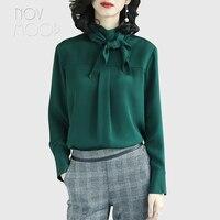 Дамы натуральный шелк топы и блузки ruffled tie воротник дизайн зеленый розовый 23 мм шелковая рубашка roupa camisa женская блузка LT2080