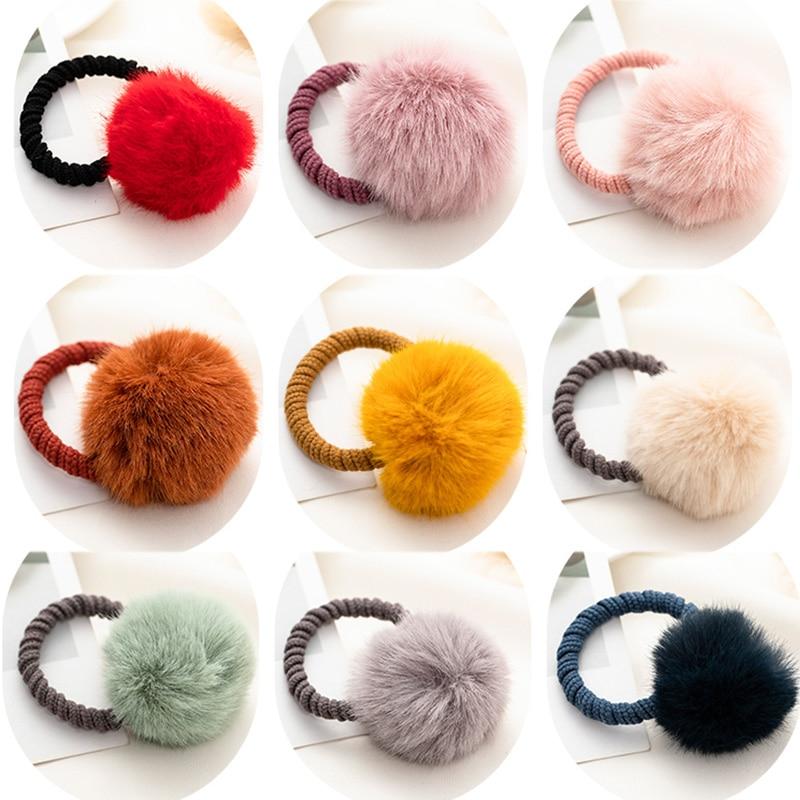 New Winter Giris Cute Colorful Hair Ball Thich Elastic Hair Band Lovely   Headwear   Hairpins Headbands Rubber Band Hair Accessories