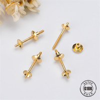 DIY Earrings Accessories Double Bead Front And Rear Style G18K Yellow Gold Blank Bracket Earrings Pearl Needle Cap Accessories