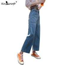 Denim Wide Leg Pants Women High Waist Jeans Casual Fashion Cropped Trousers Straight Loose Women's Ankle Length Pants Summer New new fashion hot casual womens loose denim wide leg pants high waist straight jeans trousers free shipping