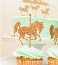 Glitter Gold Carousel Horses Cupcake Toppers 500pcs/lot Free Shipping
