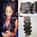 Hotsale 8А Индийские волосы топ закрытие 3.5x4 три части закрытия шнурка 130% плотность естественный цвет 3 часть тела закрытие волна