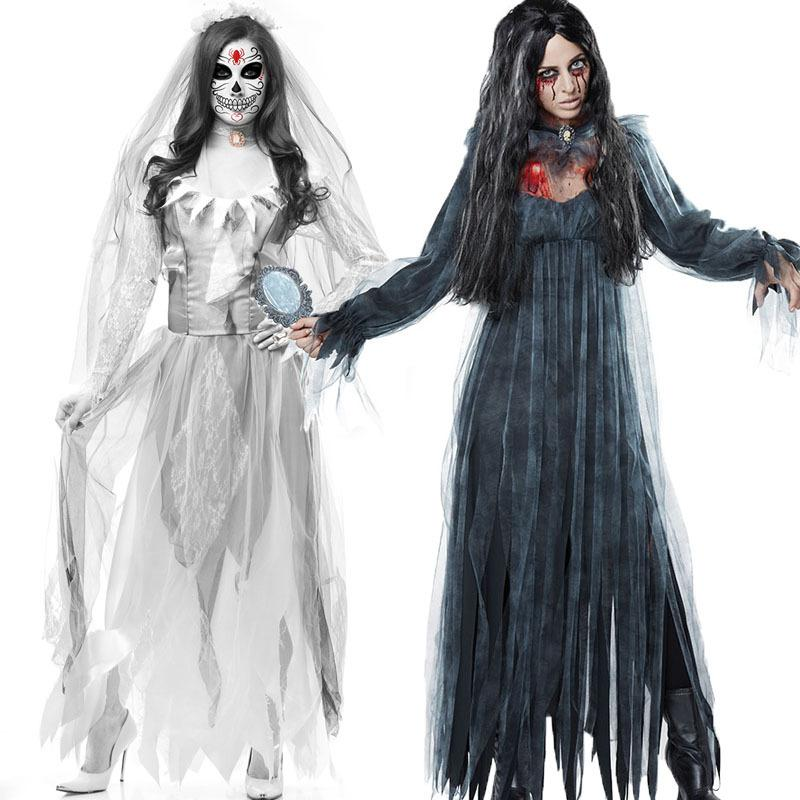 Women Sexy Dress Zombie Bride Cosplay Costume Vampire Carnaval Outfits Halloween Ball Costume Anime Party Game Costume